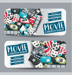movie cinema theme horizontal banner template set vector image