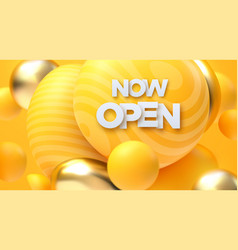 now open white sign golden and yellow bubbles vector image