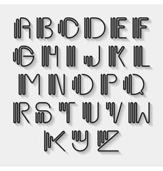 Original curved latin alphabet set vector image