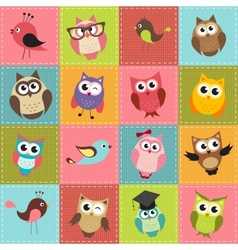Patchwork background with owls vector