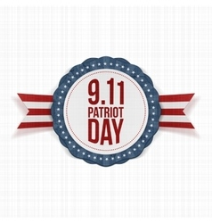 Patriot Day round Label with Ribbon vector