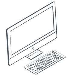 personal computer sketch monitor and keyboard vector image