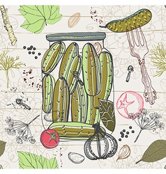 Pickled cucumbers Seamless pattern vector image