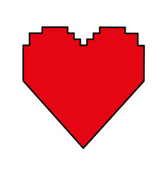 pixel cartoon heart icon image vector image