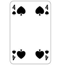 Poker playing card 4 spade vector image vector image