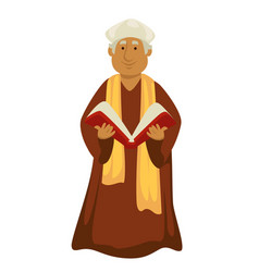 Pope clergyman or priest with bible christian vector