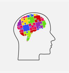 puzzle pieces silhouette brain head puzzle brain vector image