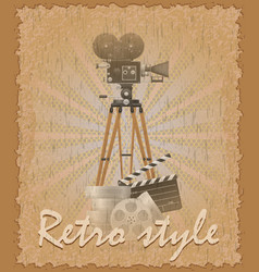 retro style poster old movie camera vector image