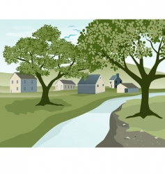 River landscape vector