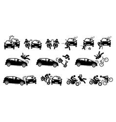 Road accident and car crash icons artwork road vector