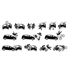 Road accident and car crash icons artwork vector