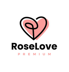 rose love heart logo icon vector image