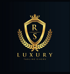 rs letter initial with royal luxury logo template vector image