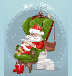 santa claus reads letters vector image