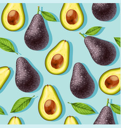 Seamless pattern with avocado and leaves vector