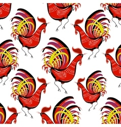 Seamless pattern with color fire cock on white vector