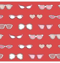 Seamless pattern Women fashion sunglasses set vector