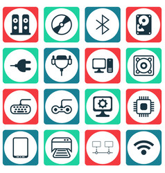 Set of 16 computer hardware icons includes chip vector