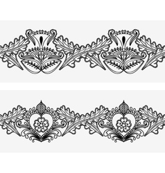 Set of seamless border with Indian pattern style vector image