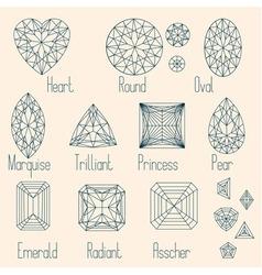 Set of stone cuts scheme vector