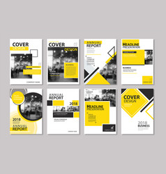 Set of yellow cover annual report brochure vector