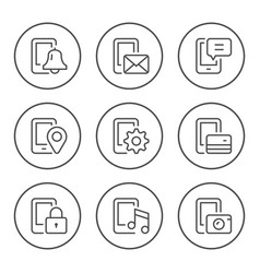 set round line icons of mobile phone functions vector image