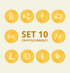 Set virtual currency icons trading signs on a vector