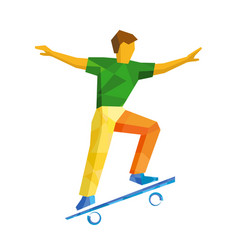 Skateboarder jump on skateboard isolated on white vector