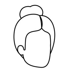 Sketch silhouette of woman faceless with bun hair vector