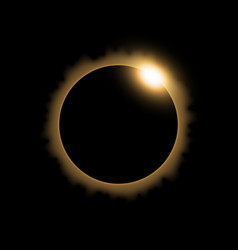 Solar eclipse golden color vector