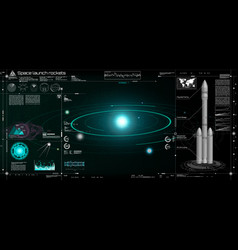 space launch rockets in hud style vector image