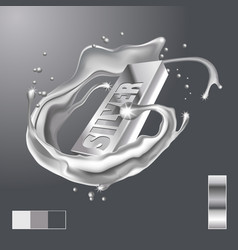 splash silver around bar realistic 3d image vector image