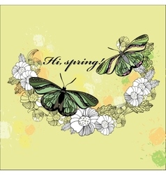 spring card Hand drawn flower wreath with vector image