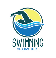 Swimming logo with text space for your slogan vector
