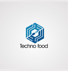 techno food in box logo concept icon element and vector image