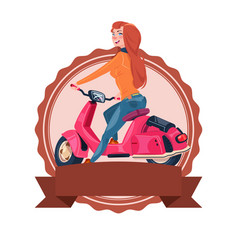Template vintage logo with woman riding retro vector
