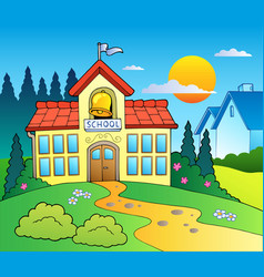Theme with big school building vector