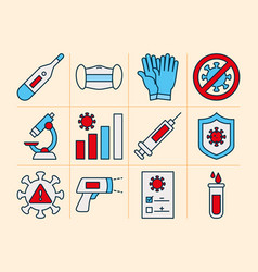 thermometer and covid19 test icon set line and fil vector image