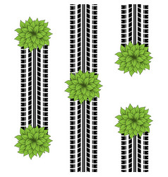 Tire tracks with bushes vector