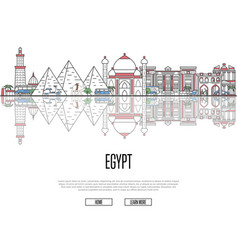 Travel tour to egypt poster in linear style vector
