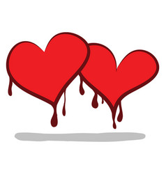 Two cartoon hearts shedding bloodvalentines vector