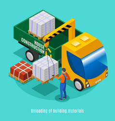 unloading building materials vector image