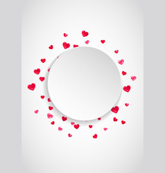 valentines paper frame with gold glitter hearts vector image