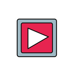 video player button internet flat line style vector image