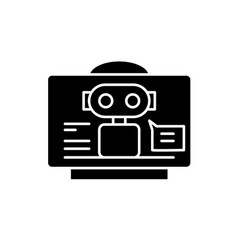 virtual assistant black icon sign on vector image