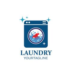washing clothes logo icon laundry service vector image