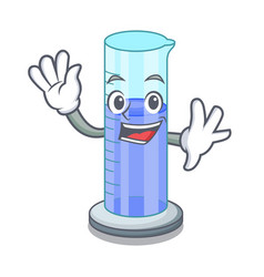 Waving graduated cylinder icon in outline vector