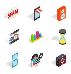 Web setup icons set isometric style vector
