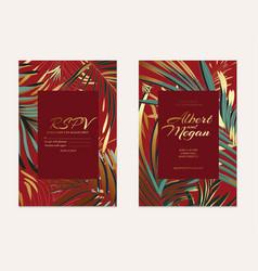 wedding card template design gold foil green palm vector image