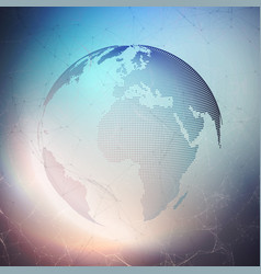 world globe on dark background global network vector image